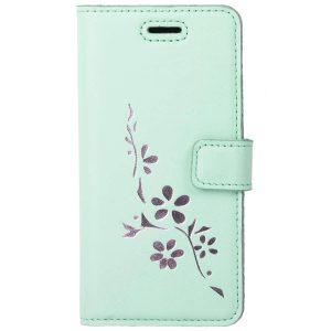 book case pastel mint kwiaty silver