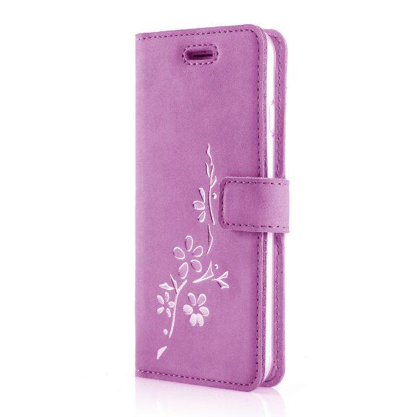 kwiaty silver nubuk pink book case